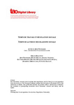 TEMPS DE TRAVAIL ET RÉGULATION SOCIALE. Tempo di lavoro e regolazione sociale