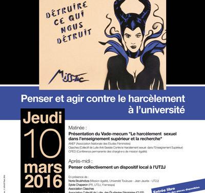 Jeudi 10 mars 2016, 9h-16h30 : Séminaire «Penser et agir contre le harcèlement à l'université»
