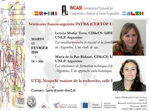 Projet européen INCASI – Séminaire franco-argentin avec Leticia Muñiz Terra & María de la Paz Bidauri – Mardi 13 février 2018, 14h