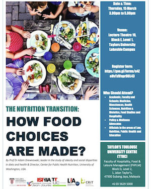 Conference Prof. Dr. Adam Drewnowski «The Nutrition Transition: How Food choice are made» – 2018