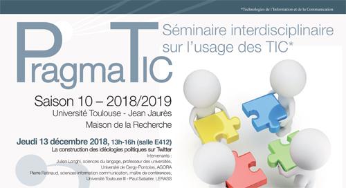 LabEx SMS : Séminaire PragmaTIC – Jeudi 13 juin 2019 avec Jérôme Denis (Mines ParisTech, CSI) et Yann Philippe Tastevin (CNRS, LISST)