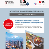 LIA CNRS: Seminar «Food Cultures and Asian Food Barometer: Theorical Perspectives and Methodological Issues» November 16, 2018 – Philippines