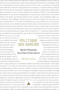 Ouvrage : «Politique des savoirs. Michel Foucault, les éclats d'une œuvre» de Jérôme LAMY