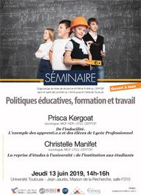 Séminaire «Politiques éducatives, formation et travail» – Jeudi 13 juin 2019, 14h avec Prisca Kergoat et Christelle Manifet