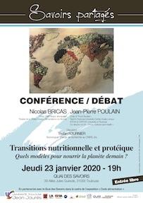 Savoirs partagés «Transitions nutritionnelle et protéique – Quels modèles pour nourrir la planète demain ?» Jeudi 23 janvier 2020, 19h Quai des savoirs